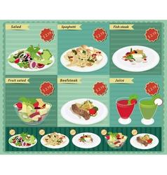Set of food menu retro style template vector image vector image