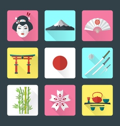 flat japan icons set vector image