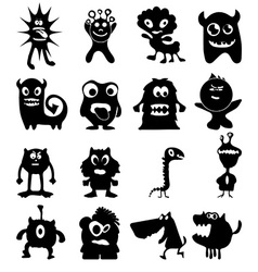 Funny monster icons set vector image vector image