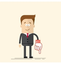 Happy businessman or manager It shows down his vector image vector image