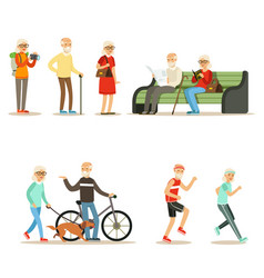 old people living full live and enjoying their vector image vector image