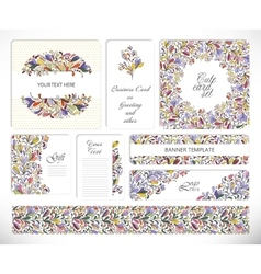 Set of creative universal floral cards vector image