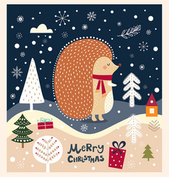 christmas with hedgehog vector image vector image