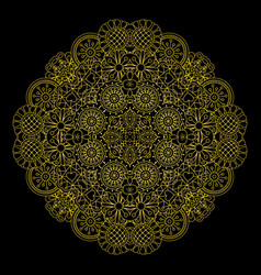 Floral gold linear round decorative element vector