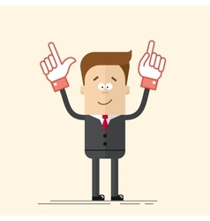 Happy businessman or manager It shows up his hand vector image