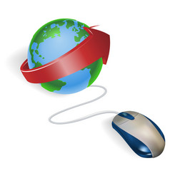 mouse and arrow globe vector image vector image