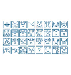 people face cartoon icons vector image vector image