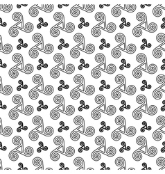 Black and white celtic triskels seamless pattern vector image vector image