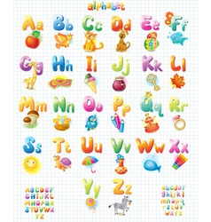 Funny Alphabet with pictures for children vector image