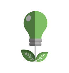 green energy bulb with leaves icon vector image