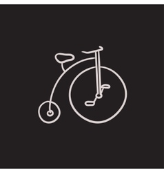 Old bicycle with big wheel sketch icon vector image vector image