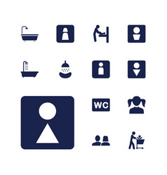13 restroom icons vector