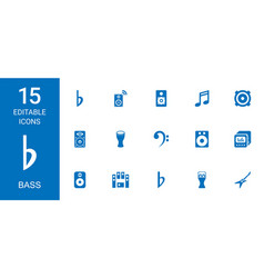 15 bass icons vector