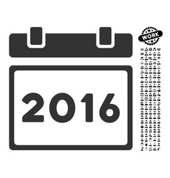 2016 calendar icon with people bonus vector
