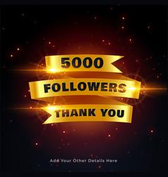 5000 followers thankyou celebration background vector