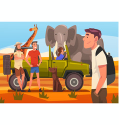 african safari travel tourists in jeep watching vector image