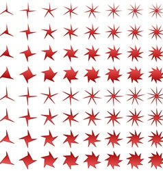 Asymmetric red star shape collection vector
