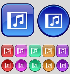 Audio MP3 file icon sign A set of twelve vintage vector image