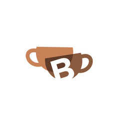 B letter coffee cup overlapping color logo icon vector