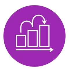 Bar chart upward line icon vector