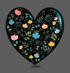 Black glared heart with watercolor flowers vector