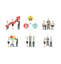 business people characters working in office set vector image
