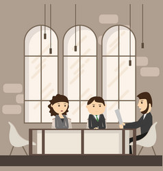 business people meeting discussing office desk vector image