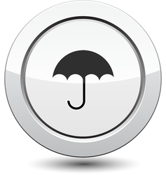 Button with Umbrella Icon vector image