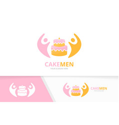 Cake and people logo combination pie and vector
