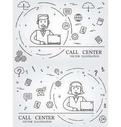 Call center thin line design vector image