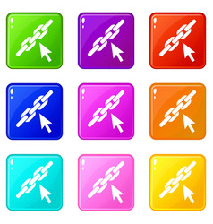 chain link icons 9 set vector image