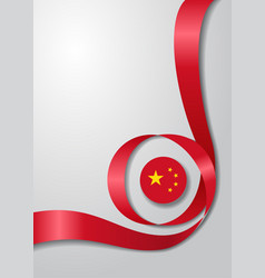 Chinese flag wavy background vector