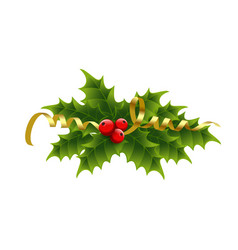 christmas holly berries and tinsel vector image