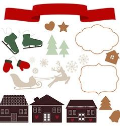 Christmas icons and vector image