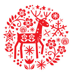 christmas round design with reindeer vector image
