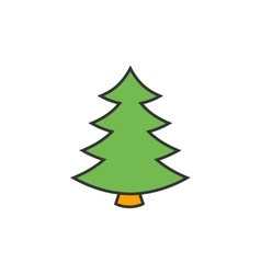 Christmas tree flat line icon vector image