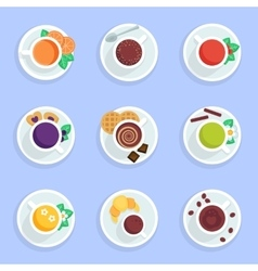 Coffee tea drinks and cocktails flat icons set vector