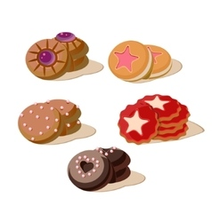 Colourful Cookies Set of Cartoon Icons vector