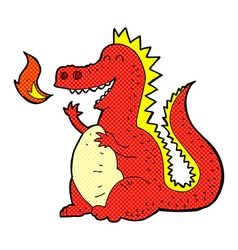 Comic cartoon fire breathing dragon vector