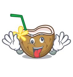 Crazy cocktail coconut mascot cartoon vector