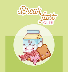 cute breakfast kawaii cartoon vector image