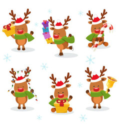 Cute Reindeer Set vector