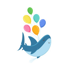 cute shark character holding bunch colorful vector image