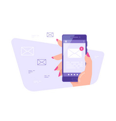 e-mail application on mobile phone flat style vector image