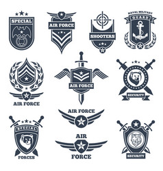 Emblems and badges for air and ground forces vector