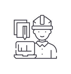 engineer and computer line icon concept engineer vector image