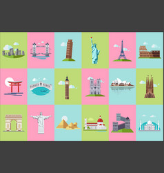 famous architectural landmarks icons set popular vector image