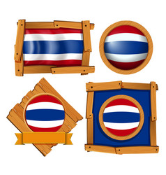 Flag icon design for thailand in different shapes vector