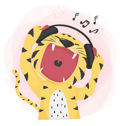 Flat cute tiger open wild mouth listening to vector