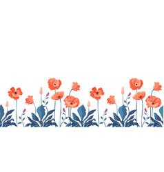 Floral seamless border california poppy vector